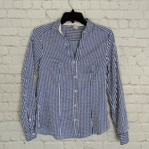 H&M | Blue Pinstripe Fitted Button Up Blouse US 8